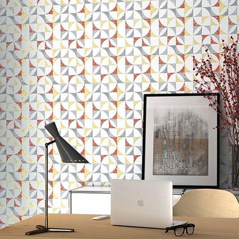 Graphic Geometric Wallpaper White Red Paste The Wall Textured Vinyl Erismann