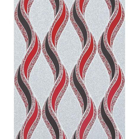 Graphic pattern wallpaper EDEM 1025-14 pebbledash render design curved lines ornaments grey light grey red silver