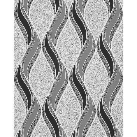 Graphic pattern wallpaper EDEM 1025-16 pebbledash render design curved lines ornaments light grey black silver