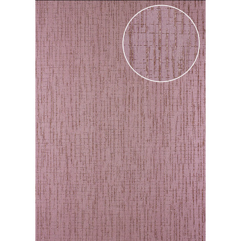 Graphic wallpaper wall Atlas 24C-5057-4 non-woven wallpaper textured with abstract pattern and metallic highlights purple violet copper 7.035 m2 (75 ft2)