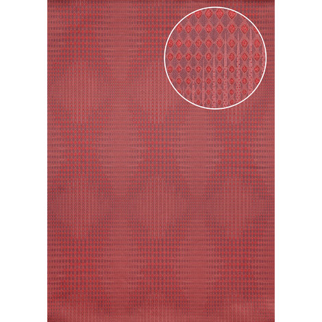 Graphic wallpaper wall Atlas ICO-5074-5 non-woven wallpaper smooth with geometric shapes and metallic highlights red ruby-red purple-violet 7.035 m2 (75 ft2)