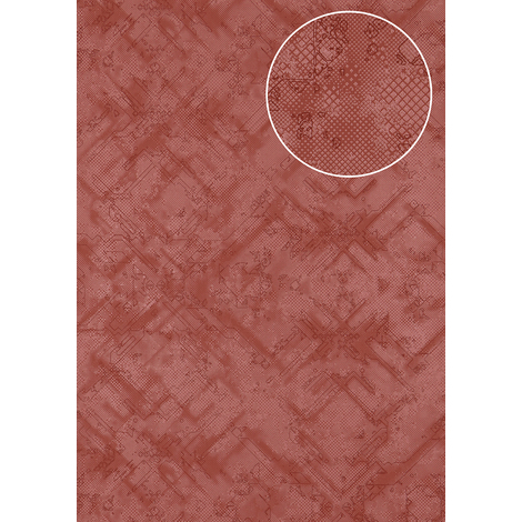 Graphic wallpaper wall Atlas SIG-581-2 non-woven wallpaper textured with abstract pattern shimmering red red-violet pearl-ruby-red 5.33 m2 (57 ft2)