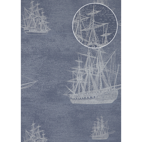 Graphic wallpaper wall Atlas SIG-584-3 non-woven wallpaper smooth with maritime design and metallic highlights blue pigeon-blue silver-grey 5.33 m2 (57 ft2)