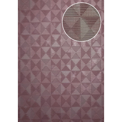 Graphic wallpaper wall ATLAS XPL-592-5 non-woven wallpaper textured with geometric shapes shimmering violet pastel violet heather violet grey beige 5.33 m2 (57 ft2)