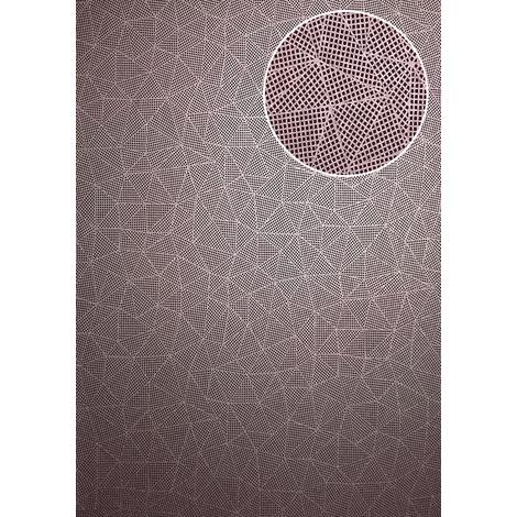 Graphic wallpaper wall ATLAS XPL-594-2 non-woven wallpaper textured with geometric shapes matt violet pearl violet pastel violet 5.33 m2 (57 ft2)