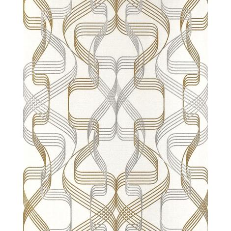 Graphic-wallpaper wall EDEM 507-20 blown vinyl wallpaper textured with abstract pattern and metallic highlights white signal-white pearl-gold silver 5.33 m2 (57 ft2)