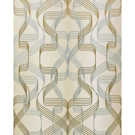 Graphic-wallpaper wall EDEM 507-23 blown vinyl wallpaper textured with abstract pattern and metallic highlights beige cream pearl-gold silver 5.33 m2 (57 ft2)