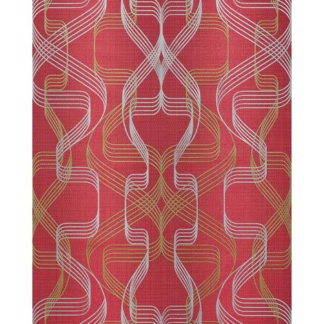 Graphic-wallpaper wall EDEM 507-24 blown vinyl wallpaper textured with abstract pattern and metallic highlights red ruby-red pearl-gold silver 5.33 m2 (57 ft2)