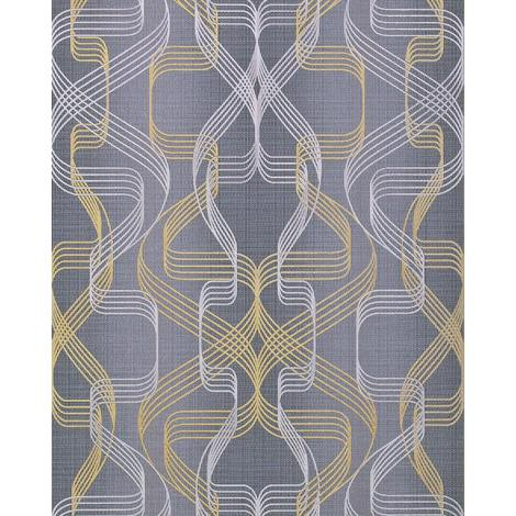 Graphic-wallpaper wall EDEM 507-26 blown vinyl wallpaper textured with abstract pattern and metallic highlights grey basalt-grey pearl-gold silver 5.33 m2 (57 ft2)