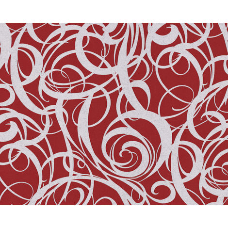 Graphic wallpaper wall EDEM 81136BR25 hot embossed non-woven wallpaper with abstract pattern and metallic highlights red purple red silver 10.65 m2 (114 ft2)