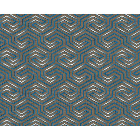 Graphic wallpaper wall EDEM 84114BR92 non-woven wallpaper slightly textured with ornaments and metallic highlights brown quartz grey pearl gentian blue silver 10.65 m2 (114 ft2)