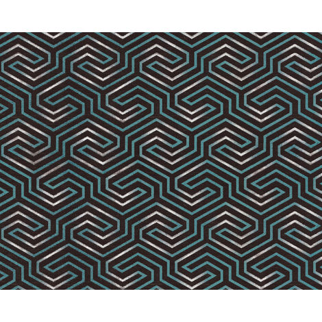 Graphic wallpaper wall EDEM 84114BR95 non-woven wallpaper slightly textured with ornaments and metallic highlights anthracite umbra grey pearl opal green silver 10.65 m2 (114 ft2)