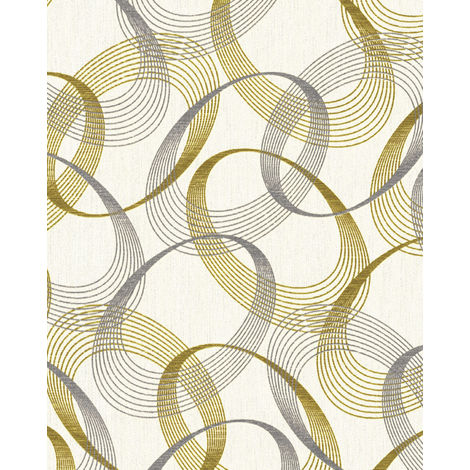 Graphic wallpaper wall EDEM 85034BR30 vinyl wallpaper slightly textured with abstract pattern and metallic highlights cream oyster white gold silver 5.33 m2 (57 ft2)