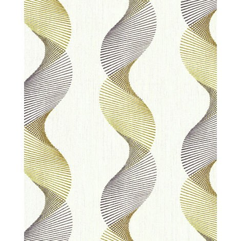 Graphic wallpaper wall EDEM 85035BR30 vinyl wallpaper slightly textured with wavy lines and metallic highlights cream oyster white gold silver 5.33 m2 (57 ft2)