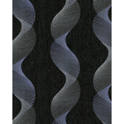 Graphic wallpaper wall EDEM 85035BR36 vinyl wallpaper slightly textured with wavy lines and metallic highlights anthracite black grey violet blue silver 5.33 m2 (57 ft2)