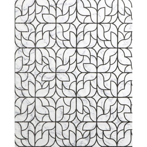 Graphic wallpaper wall EDEM 85074BR30 wallpaper slightly textured design shiny white light grey black silver 5.33 m2 (57 ft2)