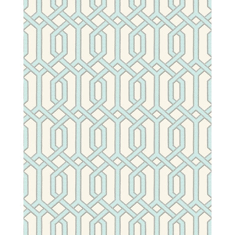 Graphic wallpaper wall Profhome BA220013-DI hot embossed non-woven wallpaper embossed with graphical pattern and metallic highlights ivory pastel turquoise silver 5.33 m2 (57 ft2)