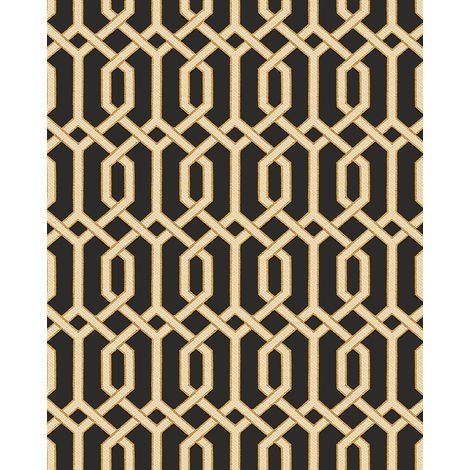 Graphic wallpaper wall Profhome BA220016-DI hot embossed non-woven wallpaper embossed with graphical pattern and metallic highlights black gold beige 5.33 m2 (57 ft2)