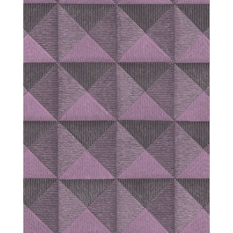Graphic wallpaper wall Profhome BA220066-DI hot embossed non-woven wallpaper embossed with graphical pattern and metallic highlights violet 5.33 m2 (57 ft2)