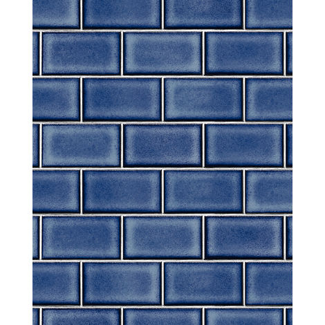 Graphic wallpaper wall Profhome BA220107-DI hot embossed non-woven wallpaper embossed with graphical pattern shiny blue white 5.33 m2 (57 ft2)