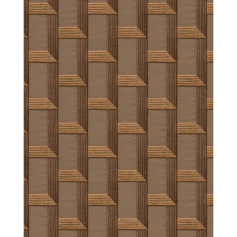 Graphic wallpaper wall Profhome DE120074-DI hot embossed non-woven wallpaper embossed with graphical pattern and metallic highlights brown copper 5.33 m2 (57 ft2)