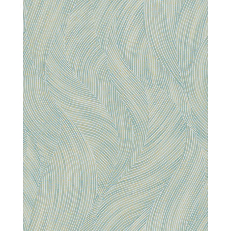 Graphic wallpaper wall Profhome VD219169-DI hot embossed non-woven wallpaper embossed with graphical pattern and pearlescent effect blue white ivory 5.33 m2 (57 ft2)