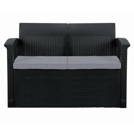 "main image of ""Graphite 2-Seater Rattan Effect Sofa & Cushion Outdoor Garden Patio Furniture"""