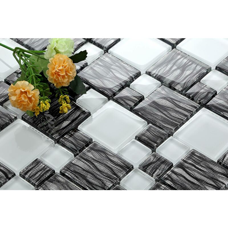 Glass Mosaic Tile With Black Combination Mix Gold Star//1/Sheet