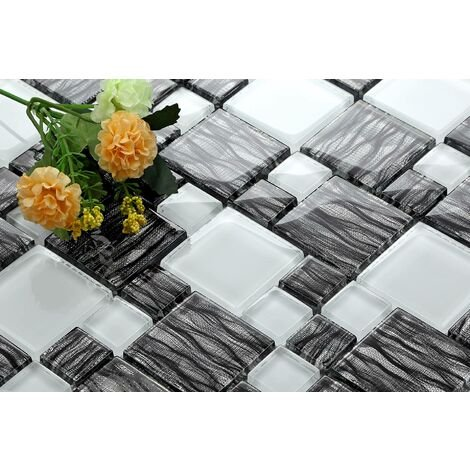 Graphite and White Combination Glass Mosaic Tiles Bathroom Bath MT0077
