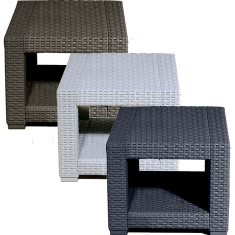 Graphite Black Square Rattan Coffee Side Table Outdoor Garden Patio Furniture
