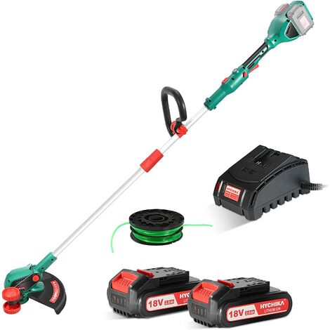 Grass Trimmer, HYCHIKA 36V Brushless Cordless Strimmer with 2 * 2Ah Li-ion Batteries & Fast Charger, 35cm Cutting Diameter, Auto-feed Dual Lines Trimmer with Edging Wheel, Ideal for Trimming & Edging