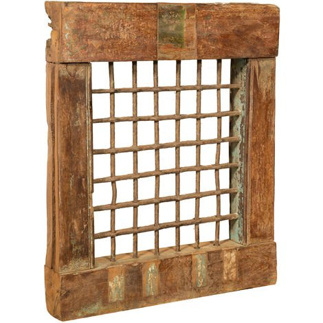 GRATED IRON GRILL WINDOW WITH FINELY RESTORED FRAME IN SOLID TEAK WOOD