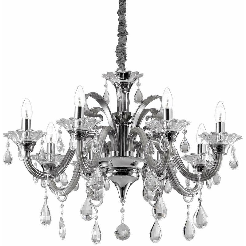 01-ideal Lux - Graue COLOSSAL Kristall Pendelleuchte 8 Glühbirnen