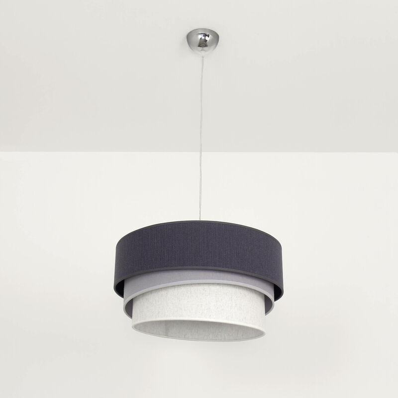 Licht-erlebnisse - Graue Pendelleuchte Stoff Schirm Ø45cm modernes Design