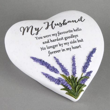 Graveside Memorial 'HUSBAND' Heart Shaped Stone Lavender Thoughts Of You