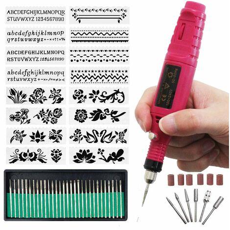 """main image of """"Graveur électrique Stylo de gravure Mini DIY Etcher Gravure Carve Machine Tool Kit avec embout diamant à graver sur métal Verre Céramique Plastique Bois Bijoux Pierre (Rouge)"""""""