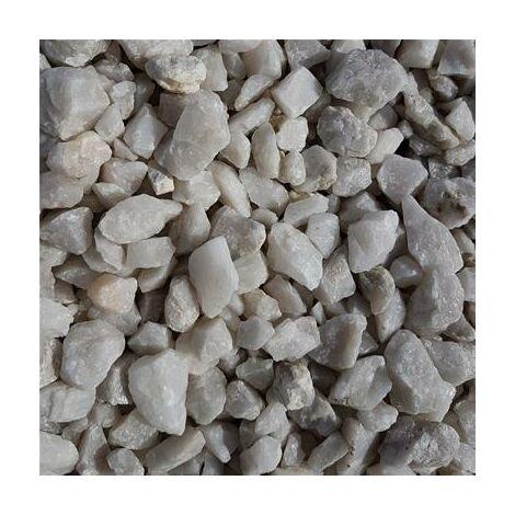 Gravillons quartz concassé blanc nuancé granulométrie 6/10 350 kgs en 10 sacs