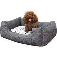 Gray Dog bed Plush Soft Comfortable Round Cat Bed Removable S size 60 x 50cm PGW22G