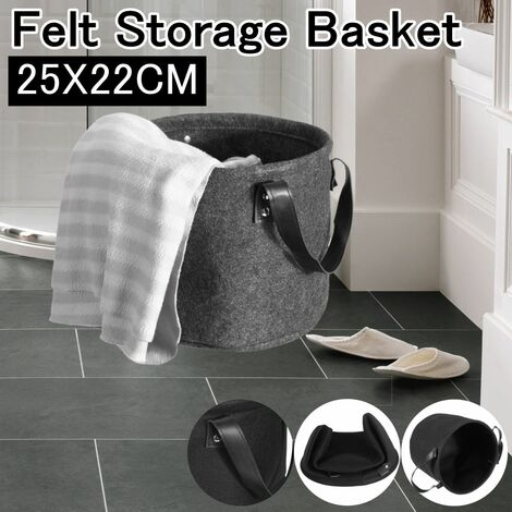 Gray Felt Storage Basket with Handle for Bedroom Closet Clothes Storage (25x22cm)