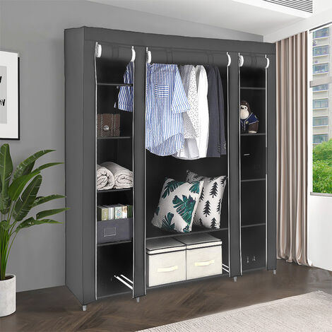 Gray three-door non-woven wardrobe with hanging clothes 172 * 134 * 43cm