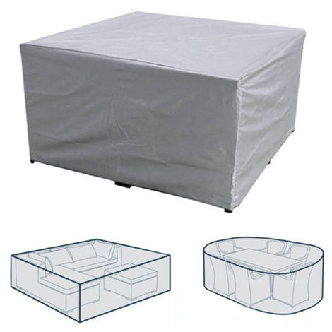 Gray Waterproof Rectangular Table Furniture Protective Cover 308x138x89cm