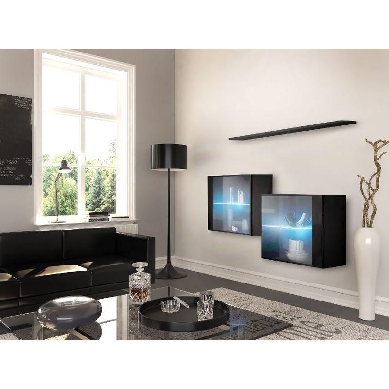 Homemania - Graz Kommode - Wand-Kabinett - mit Regalen mit blauer Led-Beleuchtung, Tueren, Regal - vom Eingang, Wohnzimmer, Zimmer - Schwarz aus