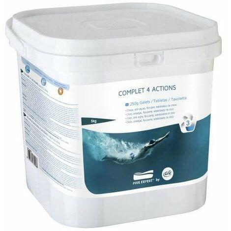 GRE Galettes Complet 4 actions - 5 Kg - Chlore, anti-algues, floculant, stabilisateur de chlore