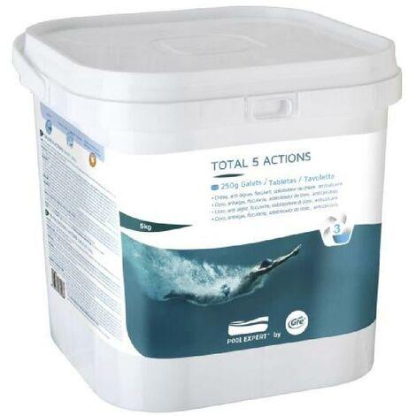 GRE Galettes Total 5 actions - 5 Kg - Chlore. anti-algues. floculant. stabilisateur de chlore. anticalcaire