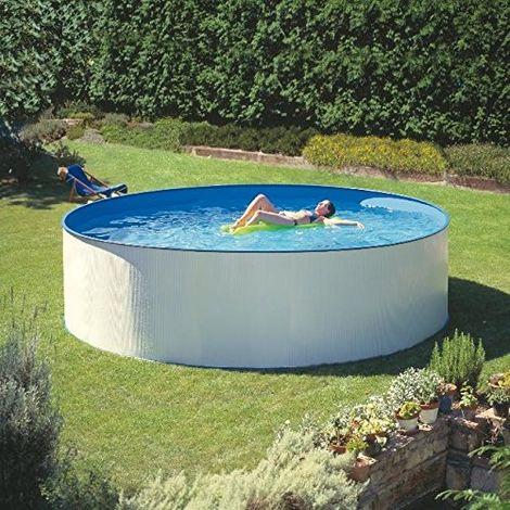 gre piscina fuoriterra tonda bianca 350x120 cm in acciaio kitpr35501