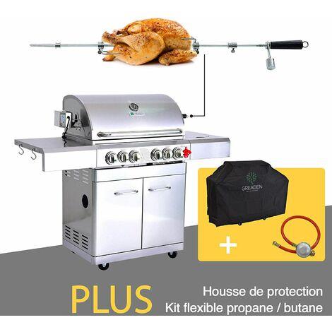 GREADEN- BBQ Grill Barbecue À Gaz INOX DÖNER 22KW- 4 BRÛLEURS+ 1 KIT RÔTISSOIRE (Infrarouge & TOURNEBROCHE)+ 1 FEU LATÉRAL et Thermomètre, Grille/Plancha + kit flexibile/housse