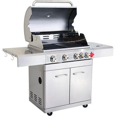 GREADEN BBQ Grill Barbecue À Gaz INOX PHÉNIX - 4 BRÛLEURS+1 FEU LATÉRAL et Thermomètre, Puissance Totale 17.5KW, 1 Grille + 1 plancha offerts