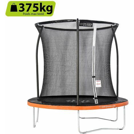 GREADEN Freestyle Orange 250 Outdoor fitness garden trampolín Ø 244cm - Red de seguridad / almohadilla protectora / colchoneta de salto