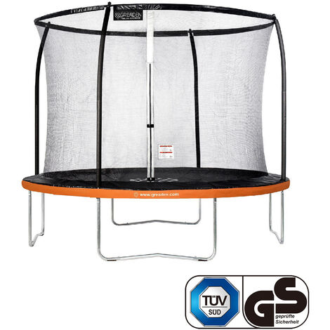 GREADEN Freestyle Orange 305 Outdoor fitness garden trampolín Ø 305cm - Red de seguridad / almohadilla protectora / colchoneta de salto