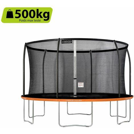 GREADEN Freestyle Orange 430 Outdoor fitness garden trampolín Ø 427cm - Red de seguridad / almohadilla protectora / colchoneta de salto